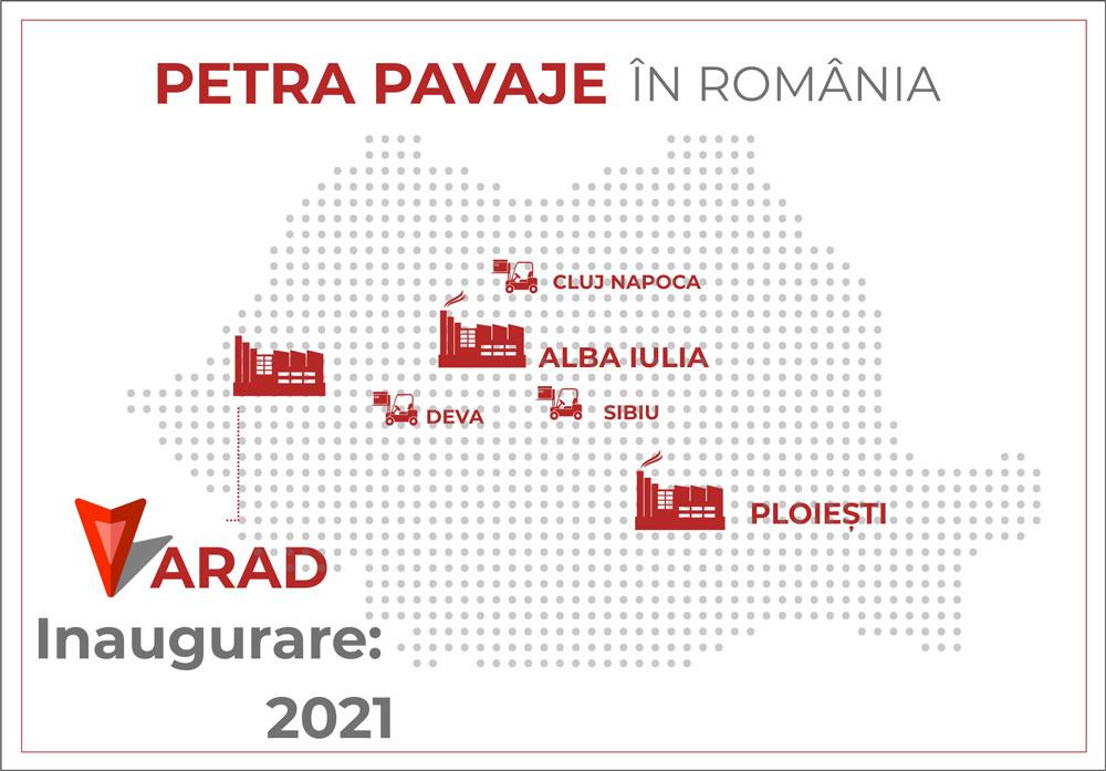 localizare fabrica Arad - PETRA PAVAJE